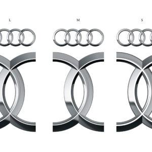 Audi Ringe Größenvergleich L, M, S