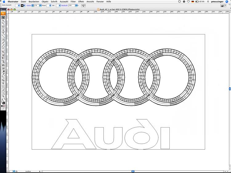 Die Reinzeichnung des Audi Markenzeichens in der Größe L in Illustrator (Pfaddarstellung)