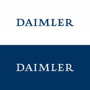 Das Daimler Unternehmenszeichen in Positiv- und Negativdarstellung im Vergleich