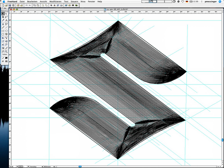 Die Reinzeichnung des Suzuki Automobile 3D-Logos in FreeHand (Pfaddarstellung)