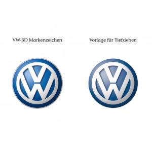 Das Volkswagen 3D-Markenzeichen und die Vorlage für das Tiefziehen mit geringerer simulierter Wölbung im Vergleich