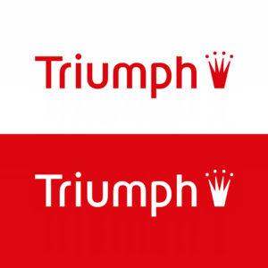 Das Triumph Logo in Positiv- und Negativdarstellung im Vergleich