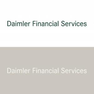 Der Daimler Financial Services Unternehmensname in Positiv- und Negativdarstellung im Vergleich