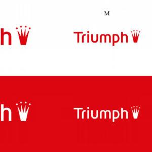 Die drei Größen des Triumph Logos in Positiv- und Negativdarstellung