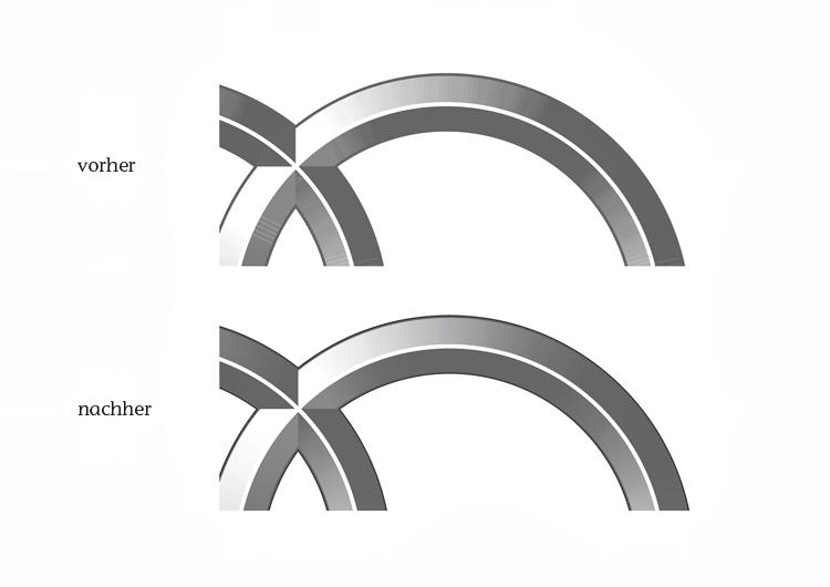 Die bisherigen und die überarbeiteten Verläufe der Audi Ringe im Vergleich
