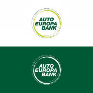 Das AutoEuropa Bank Logo in Positiv- und Negativdarstellung im Vergleich