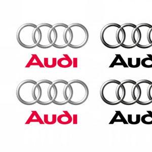Die bisherigen und die überarbeiteten Audi Markenzeichen in 4C und Graustufen im Vergleich