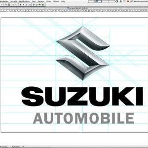 Die Reinzeichnung des Suzuki Automobile 3D-Logos in FreeHand (Vorschau)