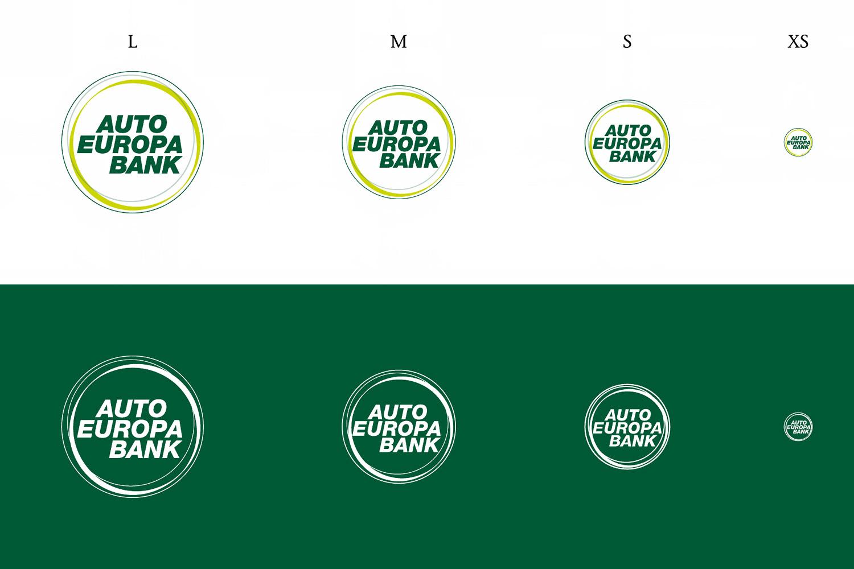 Die vier Größen des AutoEuropa Bank Logos in Positiv- und Negativdarstellung