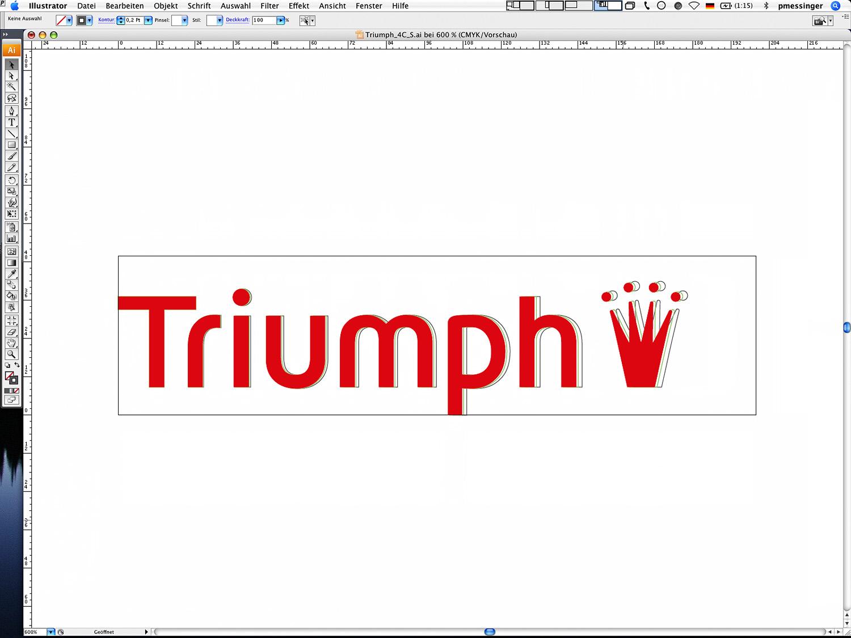 Die drei Größen des Triumph Logos in Pfaddarstellung