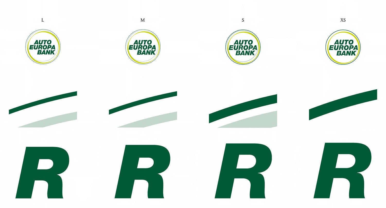 Die vier Größen des AutoEuropa Bank Logos