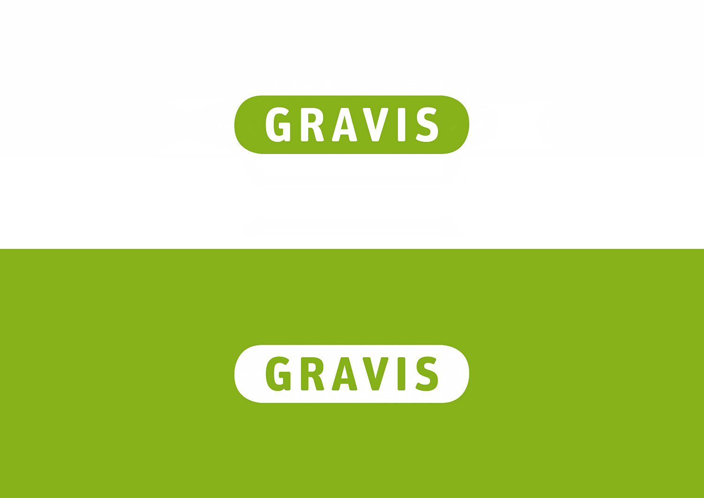Die Gravis Wortmarke in Positiv- und Negativdarstellung im Vergleich