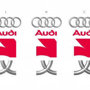 Größenvergleich des Audi Markenzeichens