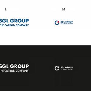 Die drei Größen des SGL Group Logos in Positiv- und Negativdarstellung
