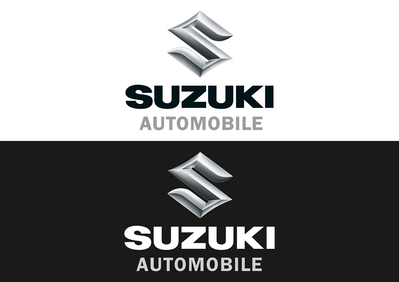 Das Suzuki Automobile 3D-Logo in Positiv- und Negativdarstellung im Vergleich