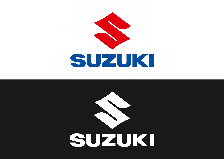 Das Suzuki 2D-Logo in Positiv- und Negativdarstellung im Vergleich