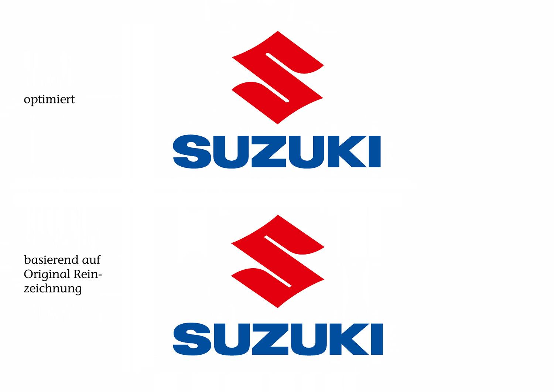 Das optimierte Suzuki 2D-Logo und das ursprüngliche, wieder aktuelle Suzuki Logo im Vergleich